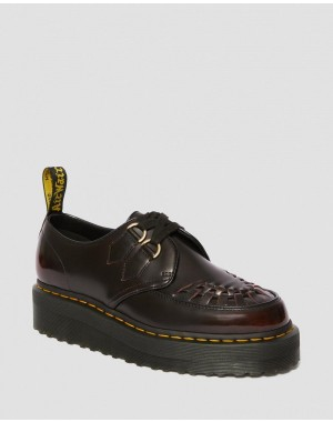 Black Friday Sale Dr. Martens SIDNEY ARCADIA LEATHER CREEPER PLATFORM SHOES - CHERRY RED ARCADIA