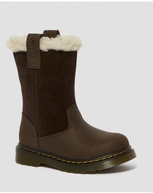 Dr.Martens TODDLER JUNEY SUEDE FAUX FUR LINED BOOTS - DARK BROWN REPUBLIC WP+HI SUEDE WP - Sale