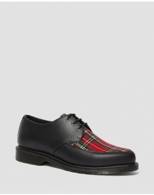 Dr.Martens WILLIS TARTAN LACE UP SHOES - BLACK+RED STEWART SMOOTH+TARTAN FABRIC - Sale