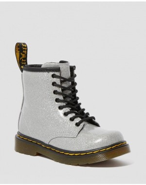 Black Friday Sale Dr. Martens TODDLER 1460 GLITTER LACE UP BOOTS - SILVER COATED GLITTER