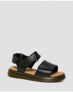 Dr.Martens JUNIOR ROMI LEATHER VELCRO SANDALS - BLACK T LAMPER - Sale