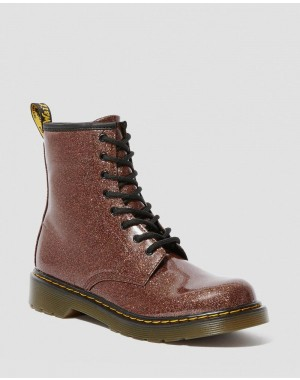 Dr.Martens YOUTH 1460 GLITTER LACE UP BOOTS - ROSE BROWN COATED GLITTER - Sale
