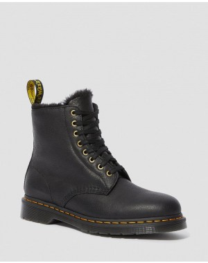 Black Friday Sale Dr. Martens 1460 PASCAL MEN'S FAUX FUR LINED LACE UP BOOTS - BLACK AMBASSADOR
