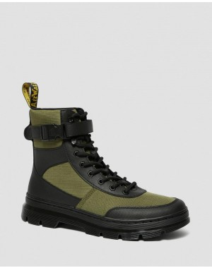 Black Friday Sale Dr. Martens COMBS TECH POLY CASUAL BOOTS - BLACK-DMS OLIVE ELEMENT-POLY RIP STOP