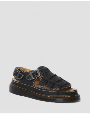 Black Friday Sale Dr. Martens 8092 LEATHER FISHERMAN SANDALS - BLACK GRIZZLY