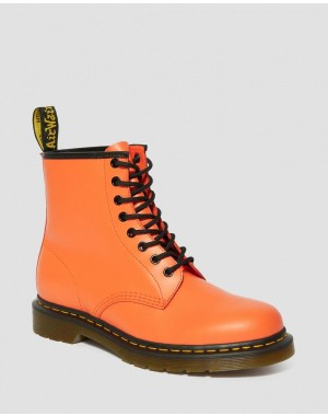 Black Friday Sale Dr. Martens 1460 SMOOTH LEATHER LACE UP BOOTS - ORANGE SMOOTH