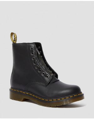 Black Friday Sale Dr. Martens 1460 WOMEN'S PASCAL NAPPA ZIPPER BOOTS - BLACK NAPPA