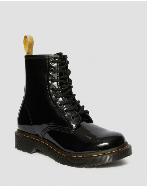 Black Friday Sale Dr. Martens VEGAN 1460 WOMEN'S OPALINE LACE UP BOOTS - BLACK OPALINE
