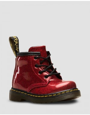 Black Friday Sale Dr. Martens INFANT 1460 GLITTER LACE UP BOOTS - RED COATED GLITTER