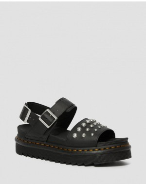 Black Friday Sale Dr. Martens VOSS LEATHER STUDDED SANDALS - BLACK HYDRO LEATHER