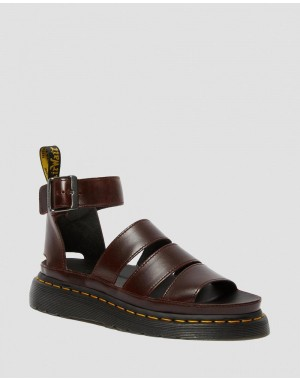 Black Friday Sale Dr. Martens CLARISSA II WOMEN'S LEATHER STRAP SANDALS - CHARRO BRANDO