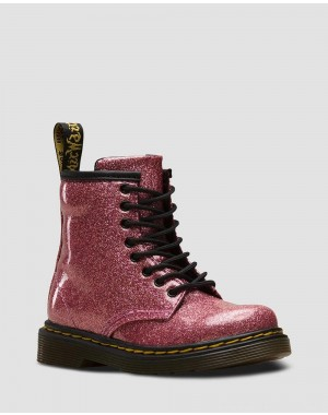 Black Friday Sale Dr. Martens TODDLER 1460 GLITTER LACE UP BOOTS - PINK COATED GLITTER