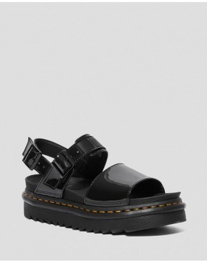 Black Friday Sale Dr. Martens VOSS WOMEN'S PATENT LEATHER STRAP SANDALS - BLACK PATENT LAMPER