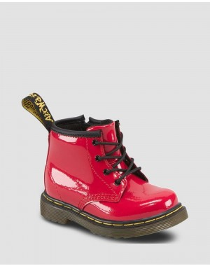 Dr.Martens INFANT 1460 PATENT LEATHER LACE UP BOOTS - RED PATENT LAMPER - Sale