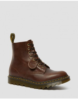 Dr.Martens 1460 PASCAL MADE IN ENGLAND RIPPLE SOLE BOOTS - DARK BROWN CHROME EXCEL - Sale