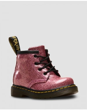 INFANT 1460 GLITTER LACE UP BOOTS - PINK COATED GLITTER