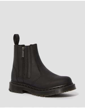 Black Friday Sale Dr. Martens 2976 WOMEN'S DM'S WINTERGRIP ZIP CHELSEA BOOTS - BLACK SNOWPLOW