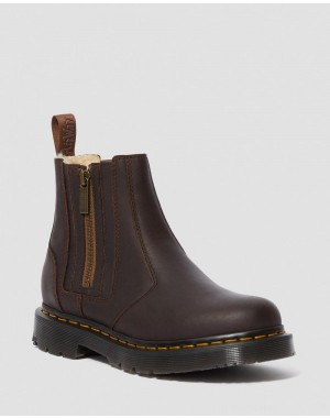 Black Friday Sale Dr. Martens 2976 WOMEN'S DM'S WINTERGRIP ZIP CHELSEA BOOTS - DARK BROWN SNOWPLOW