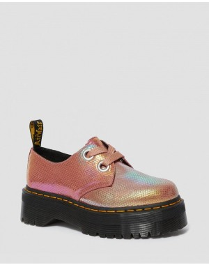 Black Friday Sale Dr. Martens HOLLY WOMEN'S IRIDESCENT LEATHER PLATFORM SHOES - PINK IRIDESCENT