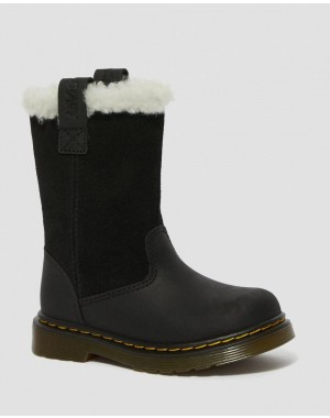Black Friday Sale Dr. Martens TODDLER JUNEY FAUX FUR LINED TALL BOOTS - BLACK REPUBLIC WP+HI SUEDE WP