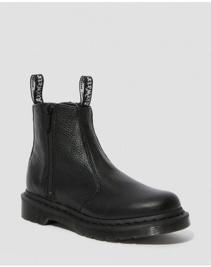 Black Friday Sale Dr. Martens 2976 WOMEN'S LEATHER ZIPPER CHELSEA BOOTS - BLACK AUNT SALLY
