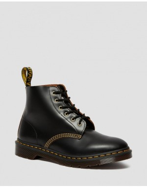 Black Friday Sale Dr. Martens 101 VINTAGE SMOOTH LEATHER ANKLE BOOTS - BLACK VINTAGE SMOOTH
