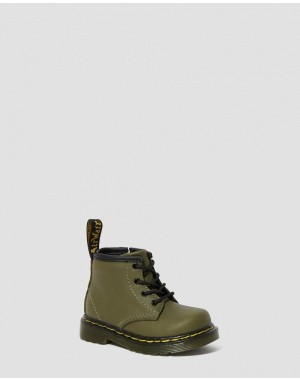 Dr.Martens INFANT 1460 LEATHER LACE UP BOOTS - DMS OLIVE ROMARIO - Sale
