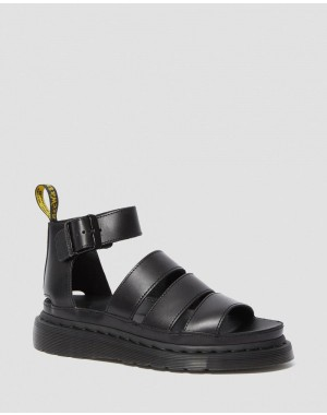 Black Friday Sale Dr. Martens CLARISSA II WOMEN'S LEATHER STRAP SANDALS - BLACK BRANDO