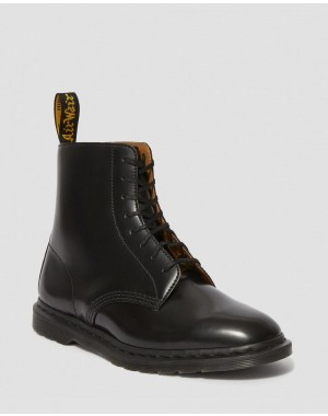 Black Friday Sale Dr. Martens WINCHESTER II MEN'S LEATHER DRESS BOOTS - BLACK POLISHED SMOOTH