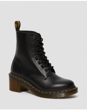 Dr.Martens CLEMENCY WOMEN'S SMOOTH LEATHER HEELED LACE UP BOOTS - BLACK SMOOTH - Sale