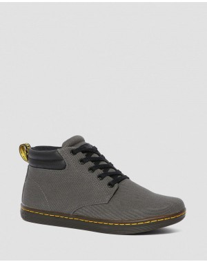 Black Friday Sale Dr. Martens MALEKE MEN'S TWILL CANVAS CASUAL BOOTS - LEAD OVERDYED TWILL CANVAS