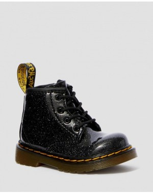 Dr.Martens INFANT 1460 GLITTER LACE UP BOOTS - BLACK COATED GLITTER - Sale