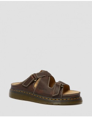 BRADFIELD RUGGED LEATHER STRAP SANDALS - DARK BROWN GRIZZLY