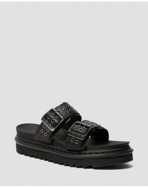 Dr.Martens MYLES LEATHER BUCKLE SLIDE SANDALS - BLACK TEMPERLEY - Sale