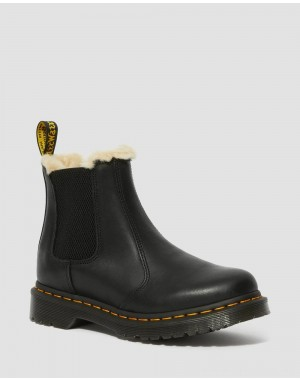 Black Friday Sale Dr. Martens 2976 WOMEN'S FAUX FUR LINED CHELSEA BOOTS - BLACK BURNISHED WYOMING