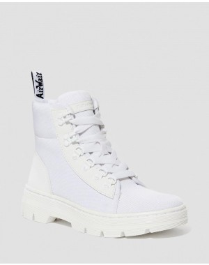 Black Friday Sale Dr. Martens COMBS WOMEN'S POLY CASUAL BOOTS - WHITE AJAX+EXTRA TOUGH POLY