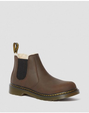 Dr.Martens YOUTH 2976 FAUX FUR LINED CHELSEA BOOTS - DARK BROWN REPUBLIC WP - Sale