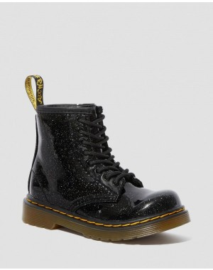 Black Friday Sale Dr. Martens TODDLER 1460 GLITTER LACE UP BOOTS - BLACK COATED GLITTER