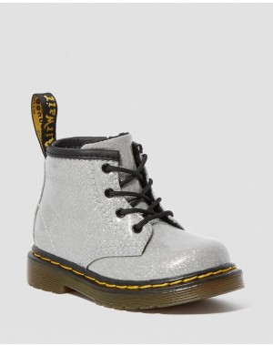 Black Friday Sale Dr. Martens INFANT 1460 GLITTER LACE UP BOOTS - SILVER COATED GLITTER