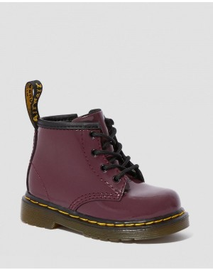 INFANT 1460 PATENT LEATHER LACE UP BOOTS - PLUM PATENT LAMPER