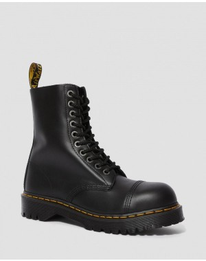 Dr.Martens 8761 BXB LEATHER MID CALF BOOTS - BLACK FINE HAIRCELL - Sale