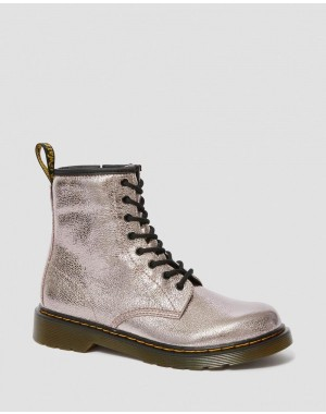 Dr.Martens YOUTH 1460 CRINKLE METALLIC LACE UP BOOTS - PINK SALT CRINKLE METALLIC - Sale