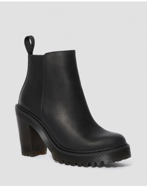 Dr.Martens MAGDALENA WOMEN'S LEATHER HEELED CHELSEA BOOTS - BLACK POLISHED WYOMING - Sale