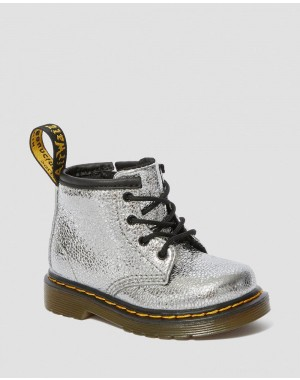 Black Friday Sale Dr. Martens INFANT 1460 CRINKLE METALLIC LACE UP BOOTS - SILVER CRINKLE METALLIC
