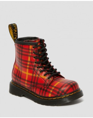 Dr.Martens TODDLER 1460 MCMARTEN TARTAN LEATHER BOOTS - RED-MULTI TARTAN BACKHAND STRAW GRAIN - Sale