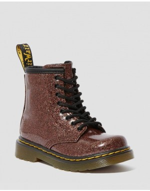 Black Friday Sale Dr. Martens TODDLER 1460 GLITTER LACE UP BOOTS - ROSE BROWN COATED GLITTER