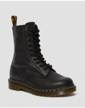 Black Friday Sale Dr. Martens 1490 VIRGINIA LEATHER MID CALF BOOTS - BLACK VIRGINIA