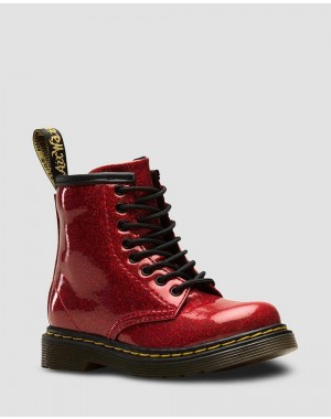 Black Friday Sale Dr. Martens TODDLER 1460 GLITTER LACE UP BOOTS - RED COATED GLITTER