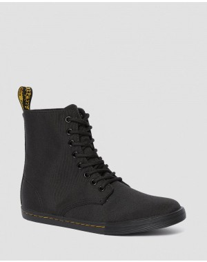 YOUTH SHERIDAN CASUAL CANVAS BOOTS - BLACK T CANVAS