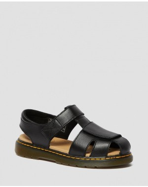 JUNIOR MOBY II LEATHER SANDALS - BLACK T LAMPER